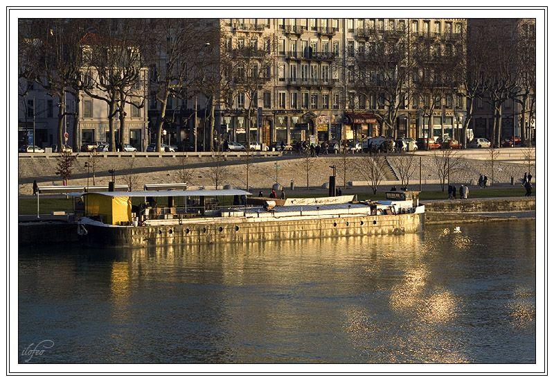 fin de journée sur le Rhône