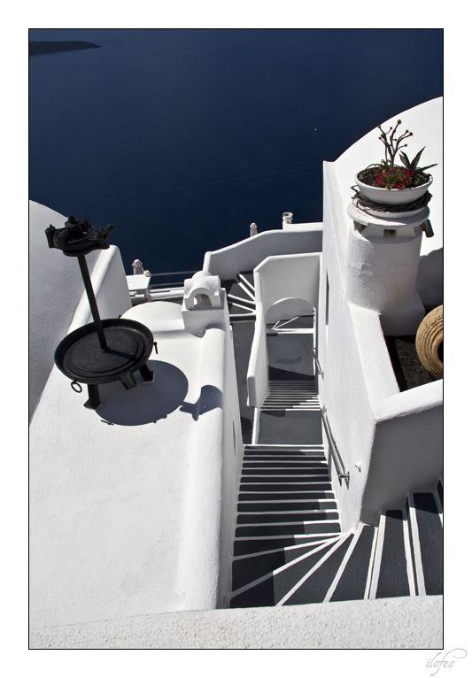 Thira escalier Santorin Cyclades Grèce
