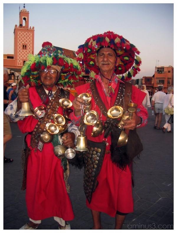 Cheerful, costumed water vendors in Marrakesh