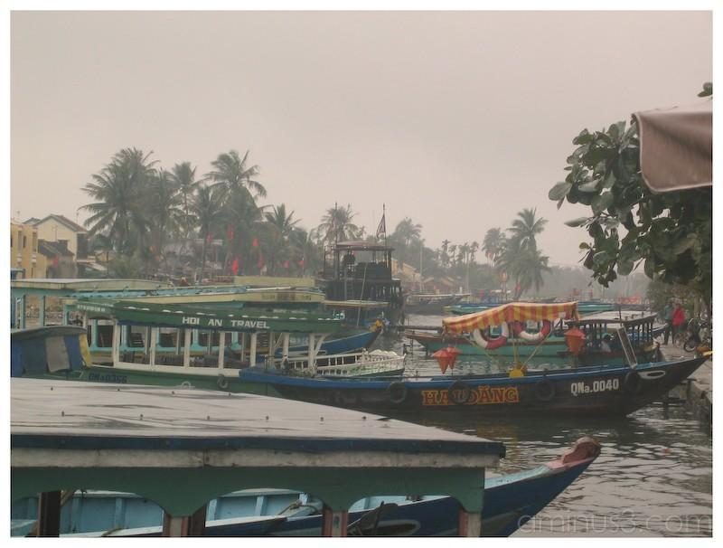 Boats along the Hoi An river, Vietnam