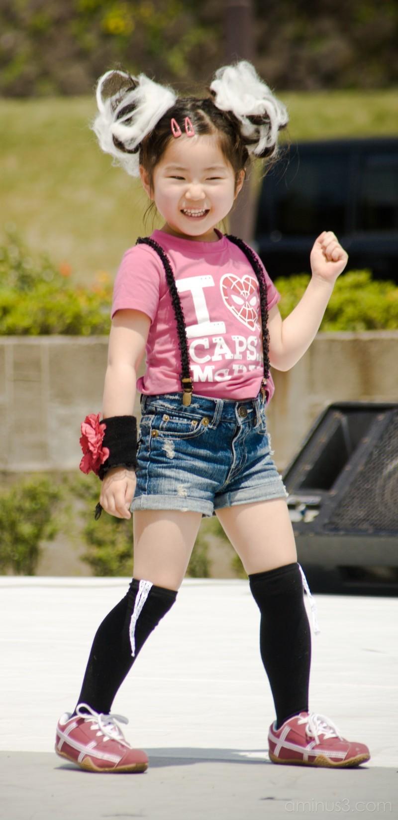 Cute girl dancing at the Kanazawa Spring Festival