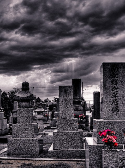 Black and white cemetary in Nonoichi, Japan