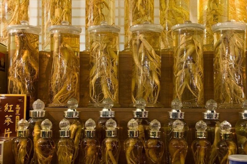 Bottles of Ginseng at a South Korean street market
