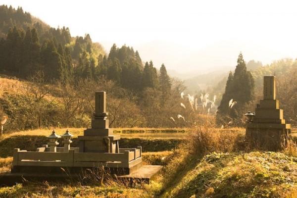Grave on vegetable garden in mountain in Toyama