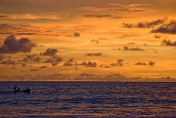 Sunset over the ocean in Phuket, Thailand