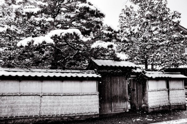 Winter in Nagamachi, a samurai street, Japan