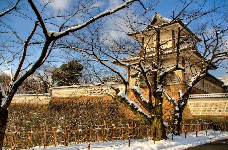 The entrance to Kanazawa Castle, Japan