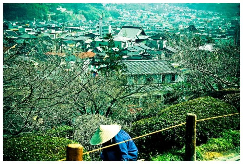Gardener working at Kanazawa's Kenrokuen Garden