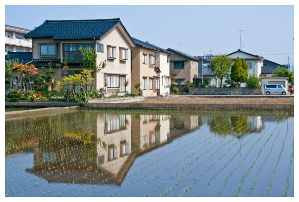 reflection of a house in a rice field, japan,