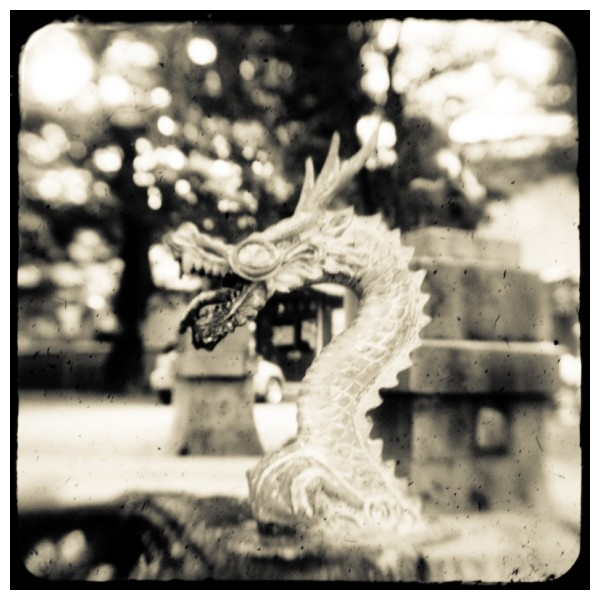 dragon water fountain at shrine in japan