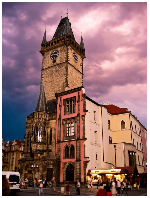 purple clouds behind building, Prague, Czech