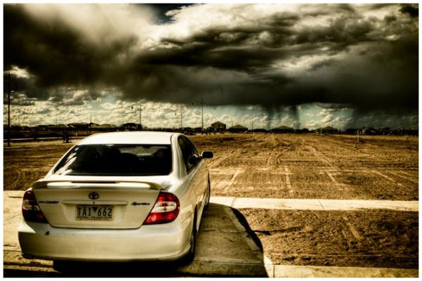 Storm brewing over vacant lot in Point Cook