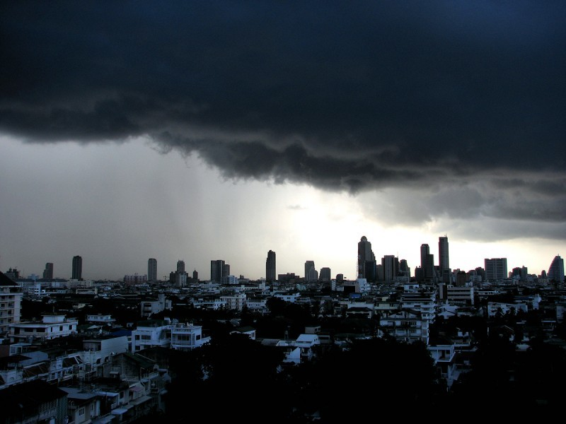 Heavy rain clouds threaten Bangkok.