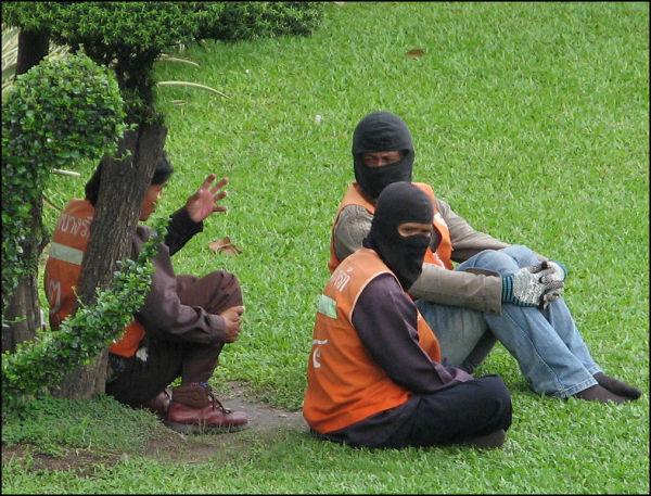 Motorcycle taxi operators await work