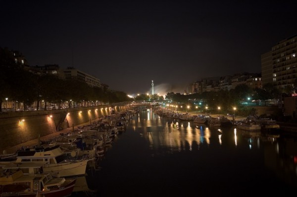 nightshoot of Bastille on fire