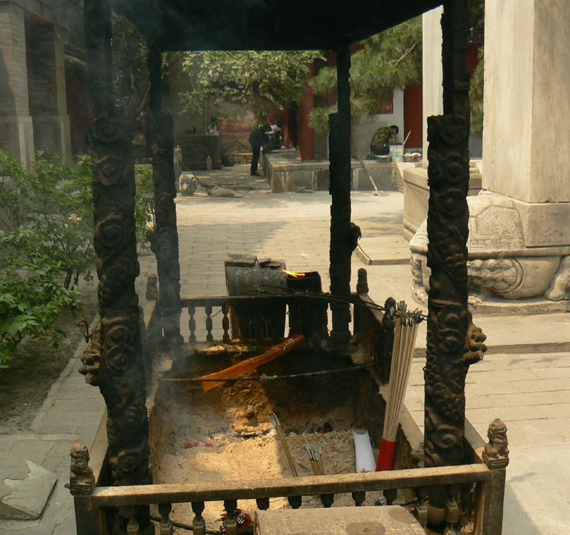 An incense alter inside Jie Tai Temple
