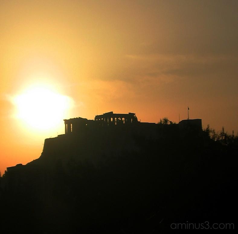 Acrópole ao pôr do sol