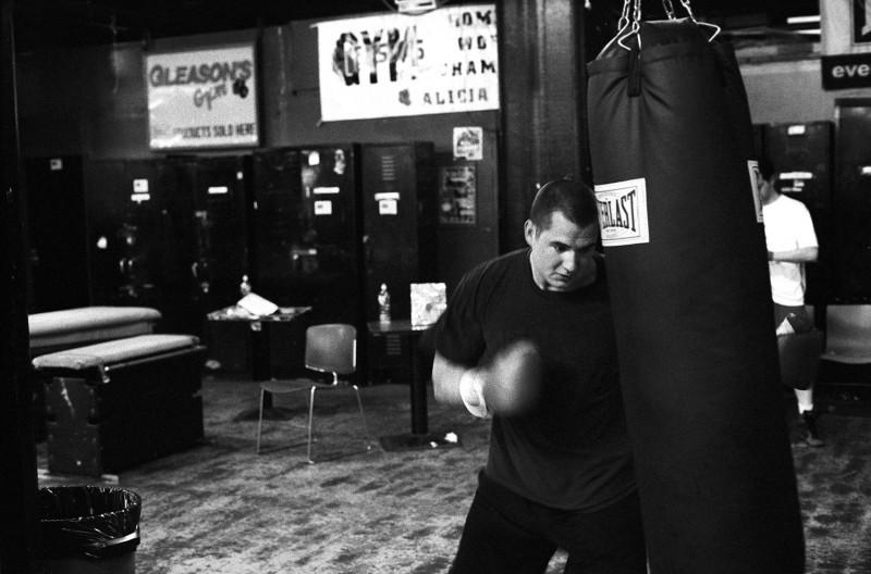 David Laird hitting the punching bag