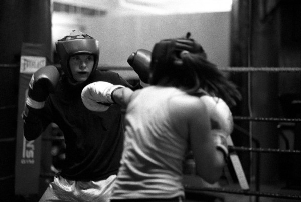 two boxers having it out during a practice round
