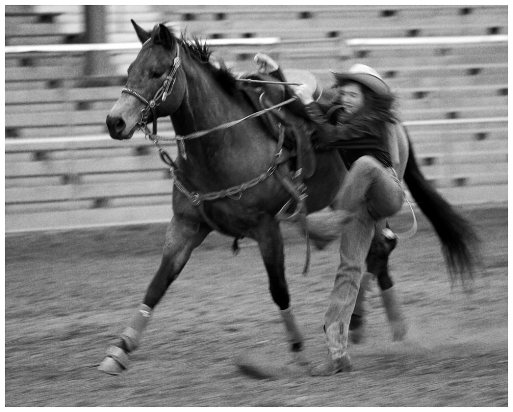 Dismount in black and white