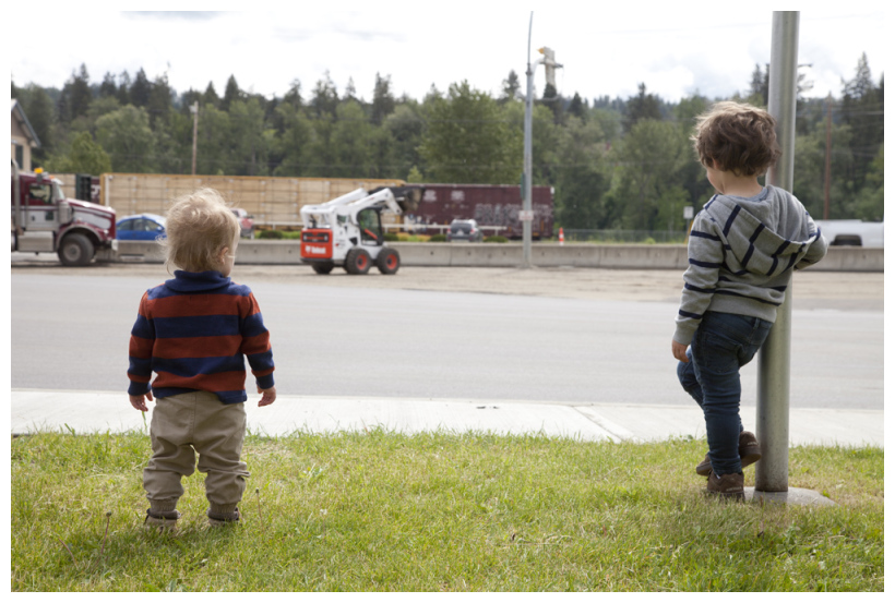 They Love To Watch The Machinery Paving