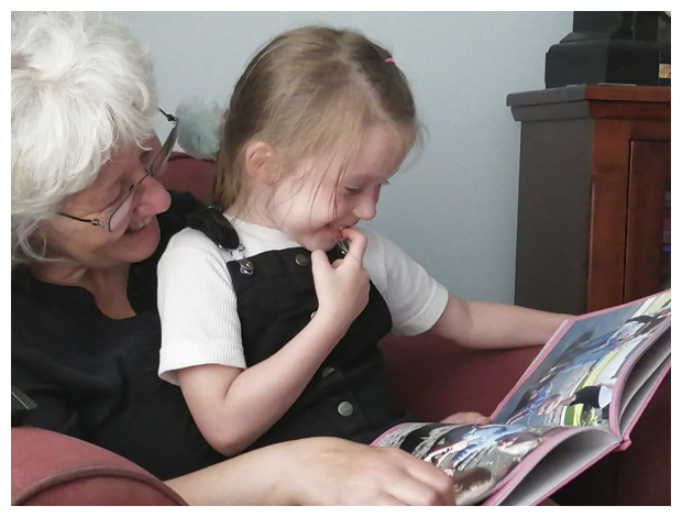 Grandma and Pepper Looking at Pictures of Pepper