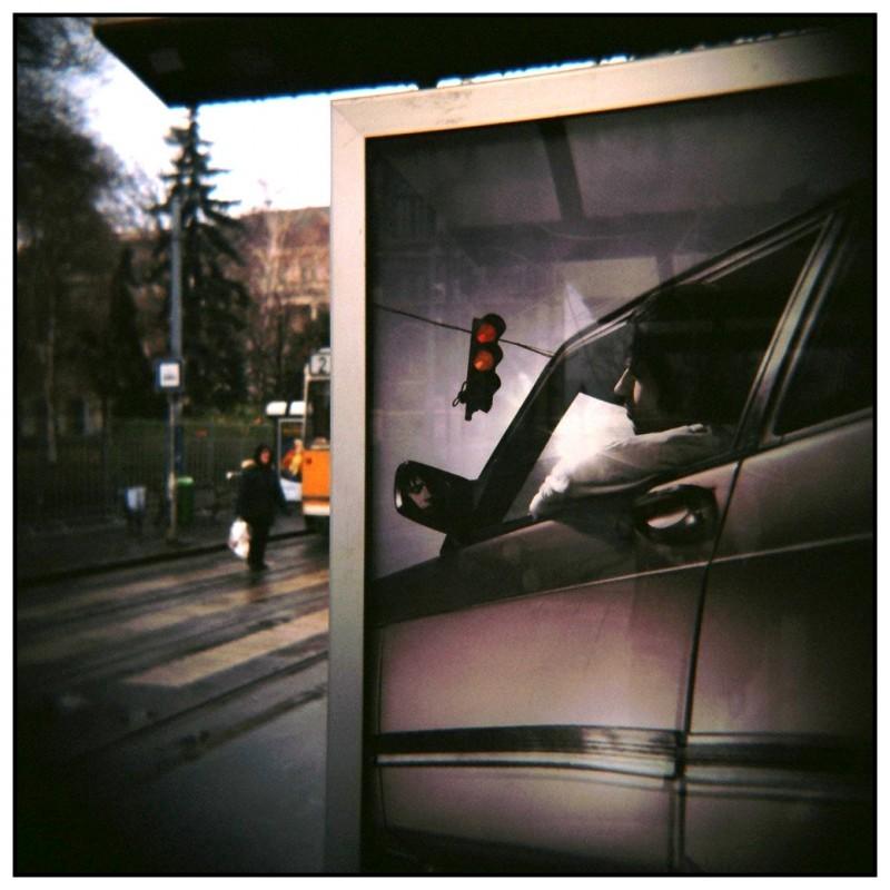 stop-light red budapest holga tram