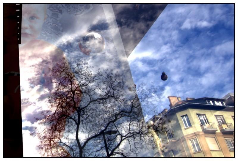 reflection shop-case shop-window budapest sky hous
