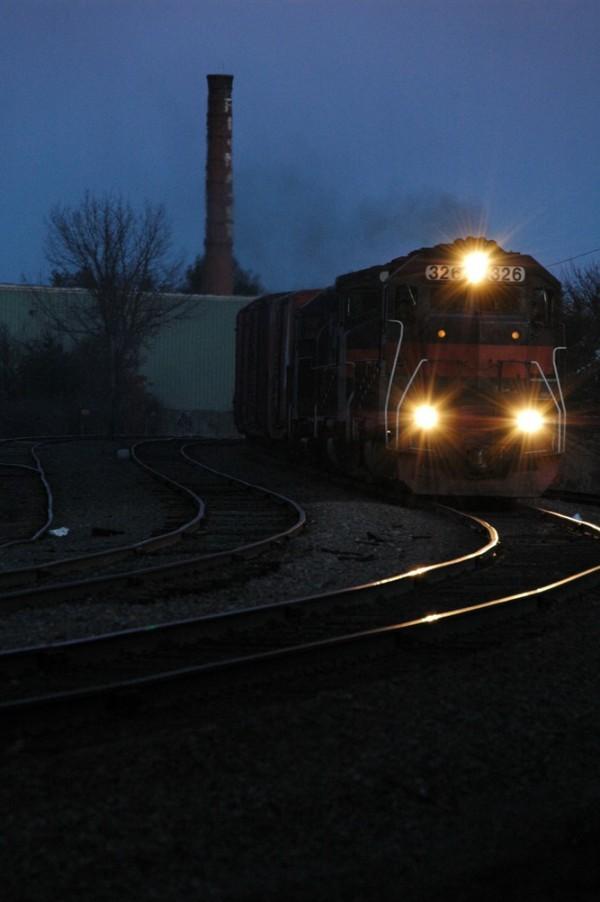 train coming on the railroad tracks, Portland, ME