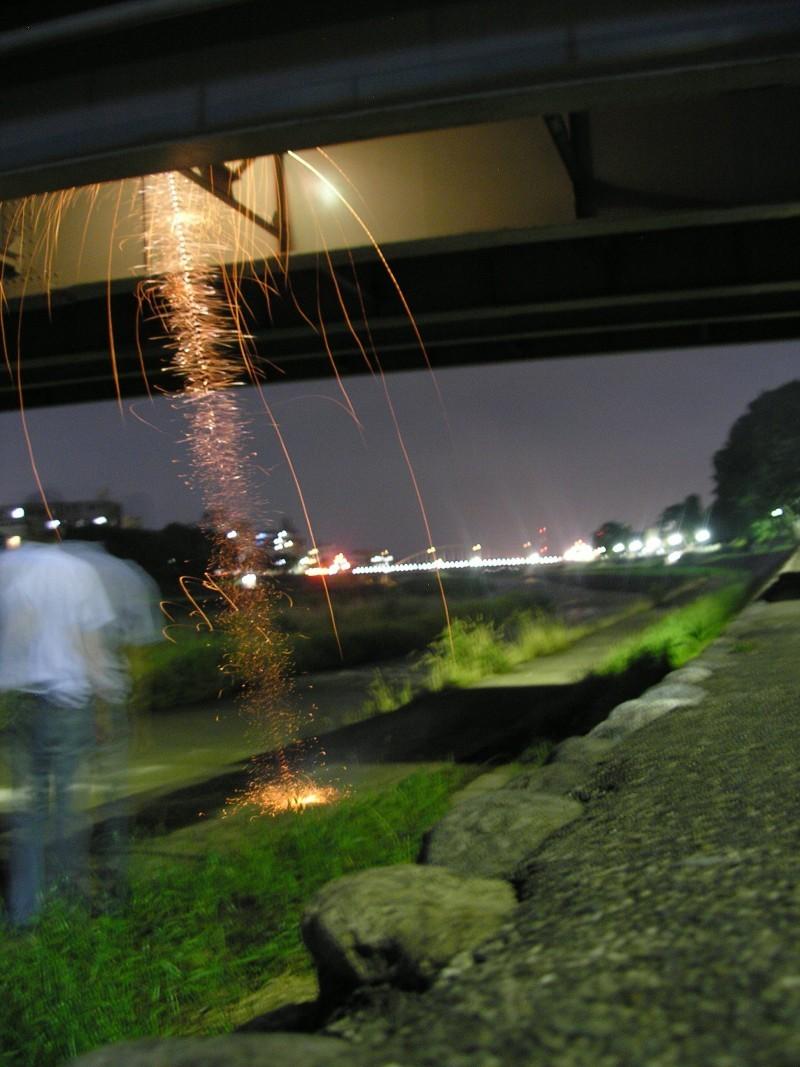 Fireworks under a bridge in Kanazawa
