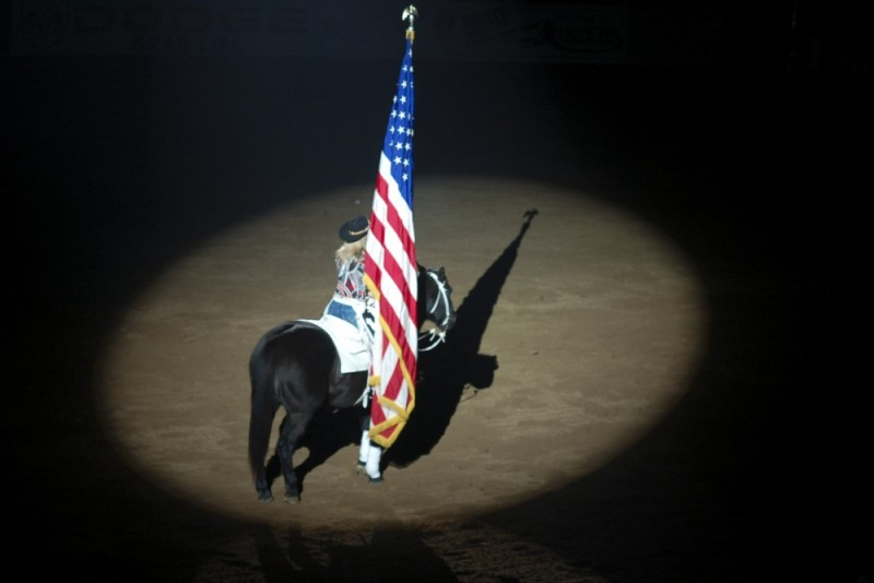 american flag at the denver rodeo