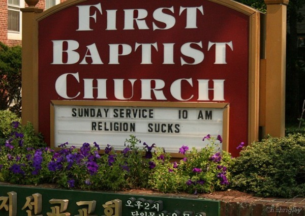 Sign at the local Baptist Church