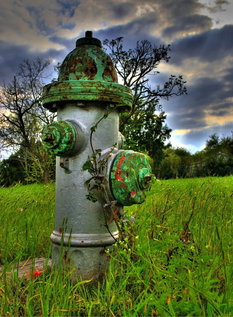 Corner fire hydrant on a vacant lot