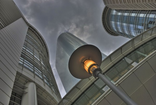 Glass and steel towering above