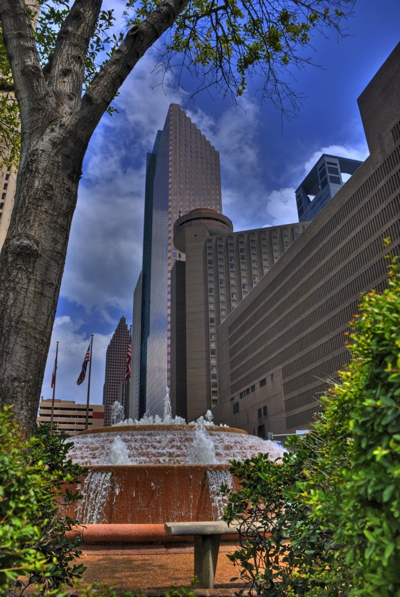 Downtown Houston with Fountain