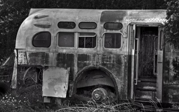 Rear of abandoned bus on route to Waco