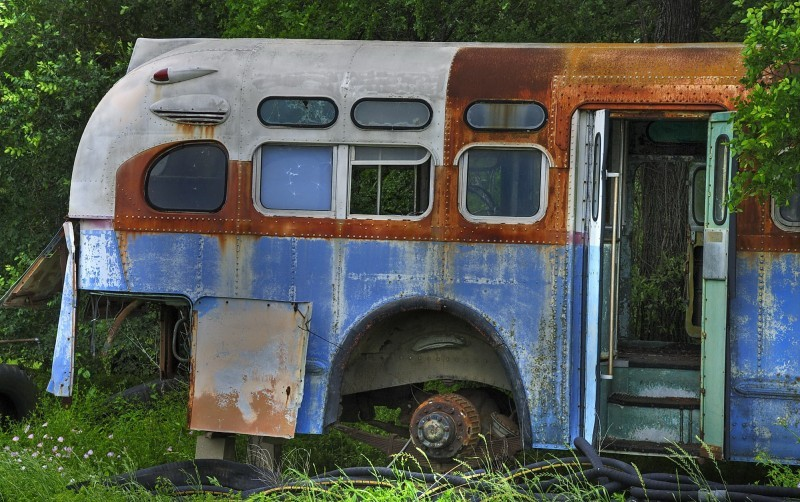 The back of the bus in color