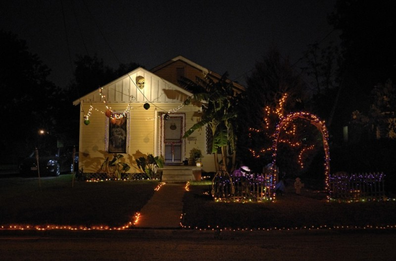 House decorated for Halloween, Victoria, Texas