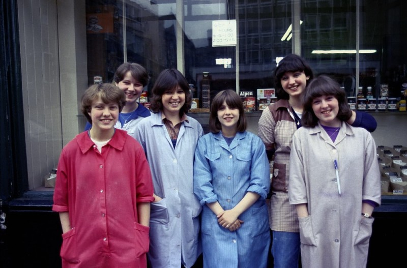 Edinburgh shop girls in front of their store