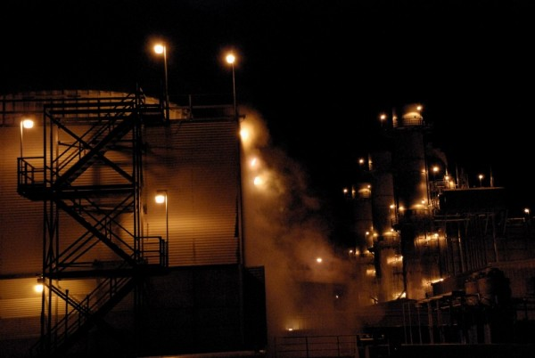 Power plant, cooling tower, night