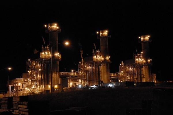 Generating plant at night