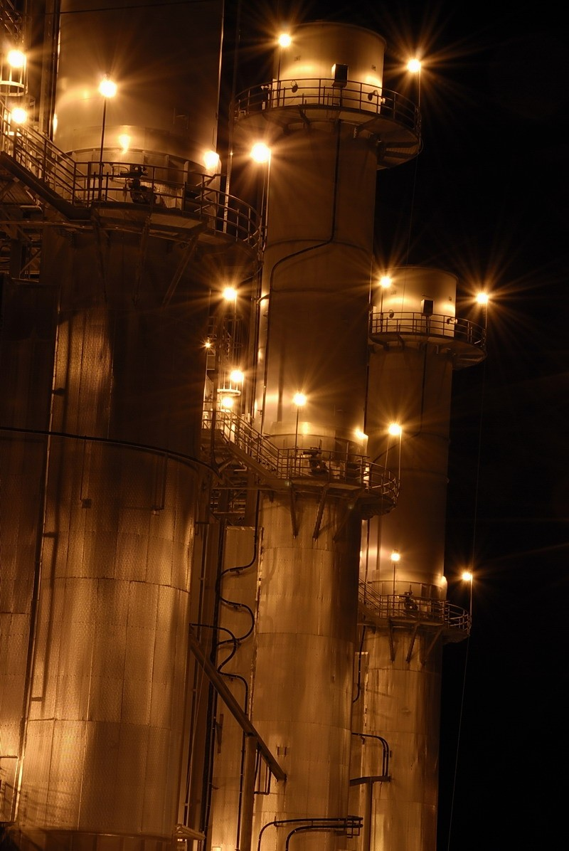 Combined-cycle generator towers at night, Rayburn
