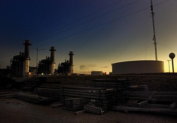 Generators at sunset from pole yard, Rayburn
