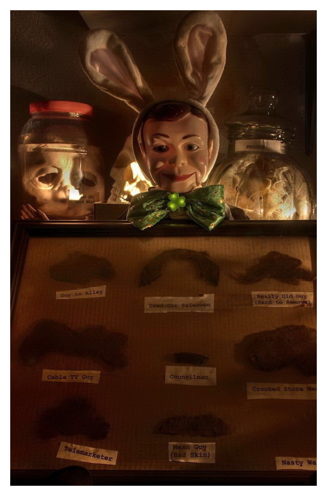 Bob displays his moustache collection