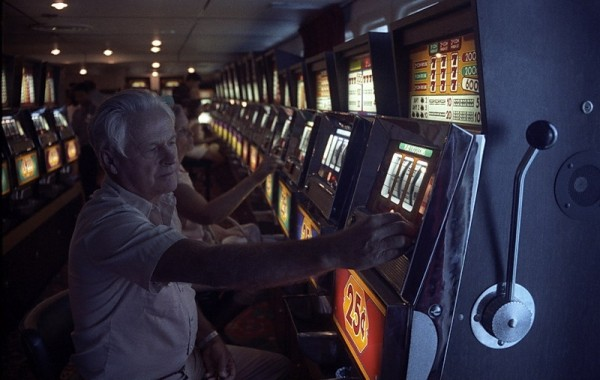 My father plays the slots in the ship's casino