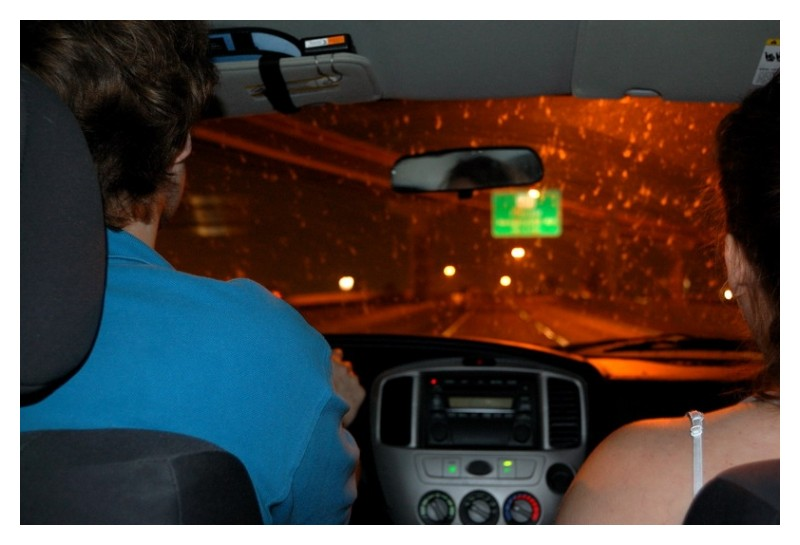 Backseat of car at night in RGV