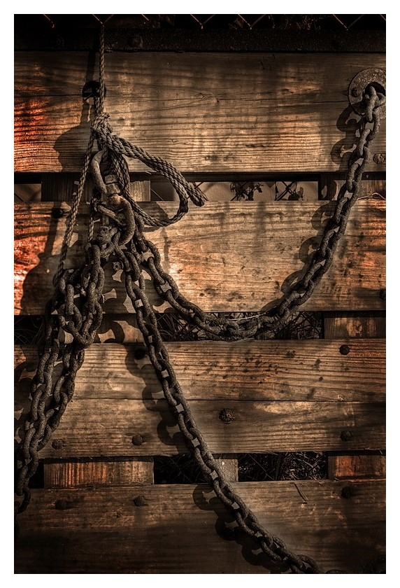 Chains rope and board, Port Lavaca, Texas