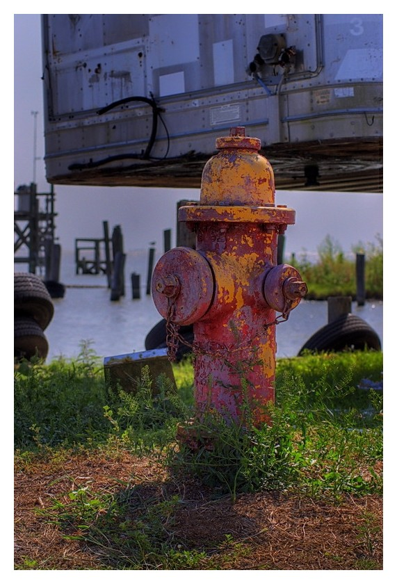 Fire hydrant by the bay, Seadrift, Texas