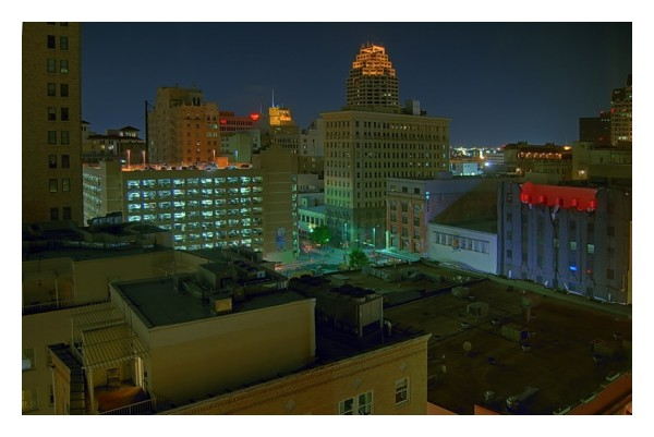 San Antonio at night from Hyatt Hotel