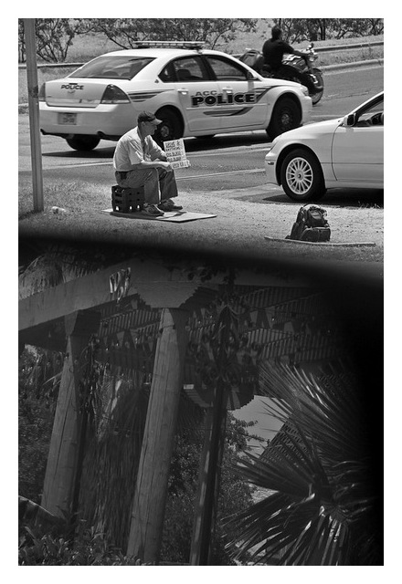 Begging in traffic, Austin, Texas